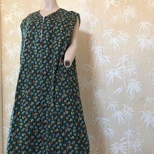 Vintage zippered floral dress w/ pockets